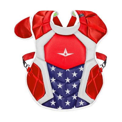 All-Star Sports S7 SEI Certified 16.5 Inch Axis Adult Baseball Softball Catcher Chest Protector with Shoulder and Throat Molded PE Plates, USA