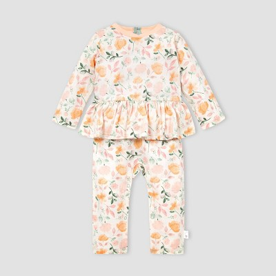 Burt's Bees Baby® Baby Girls' Organic Cotton Montana Meadow Jumpsuit - Off-White 3M