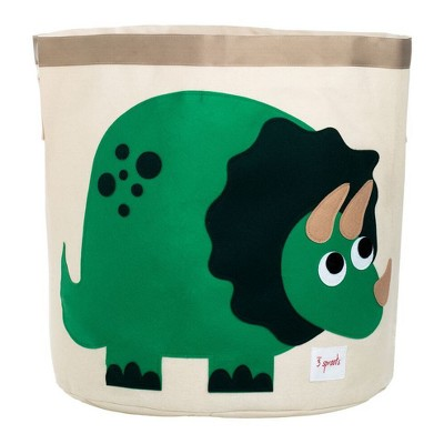 Extra Large Round Dino Canvas Kids Toy Storage Bin - 3 Sprouts