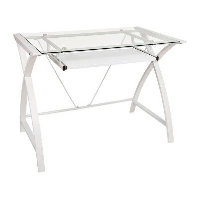 Flash Furniture Clear Tempered Glass, Flash Furniture Black Computer Desk With Pull Out Keyboard Tray