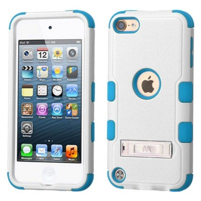 MYBAT For Apple iPod Touch 5th Gen/6th Gen White Blue Hard Hybrid Case Cover w/stand