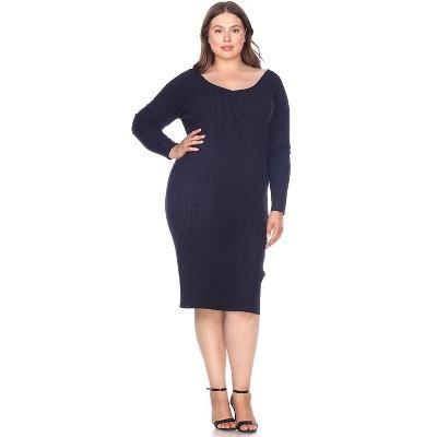 Women's Plus Size Long Sleeve Destiny Sweater Dress - White Mark