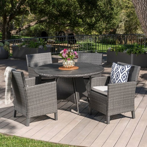 Pleasing Cypress 5Pc Round Wicker Patio Dining Set Gray Christopher Knight Home Download Free Architecture Designs Photstoregrimeyleaguecom