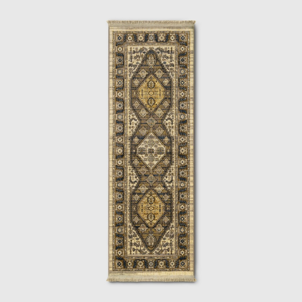 2 39 4 34 X7 39 Medallion Woven Accent Rug Brown Threshold 8482
