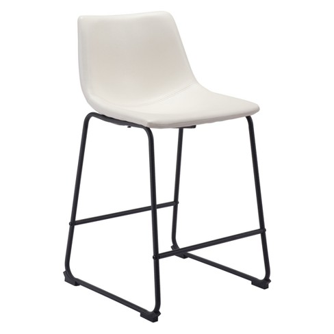 24 Sculpted Faux Leather Counter Stool Distressed White Zm Home