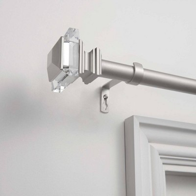 36 x72  Adjustable Prism 1  Curtain Rod and Coordinating Finial Set Matte Silver - Exclusive Home