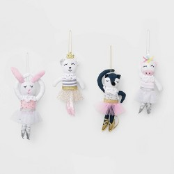 4ct Ballerina Animals Christmas Ornament Set - Wondershop™