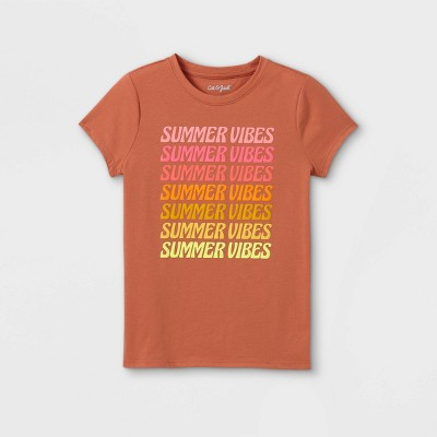 Girls' Summer Vibes Graphic Short Sleeve T-Shirt - Cat & Jack™ Wave Red
