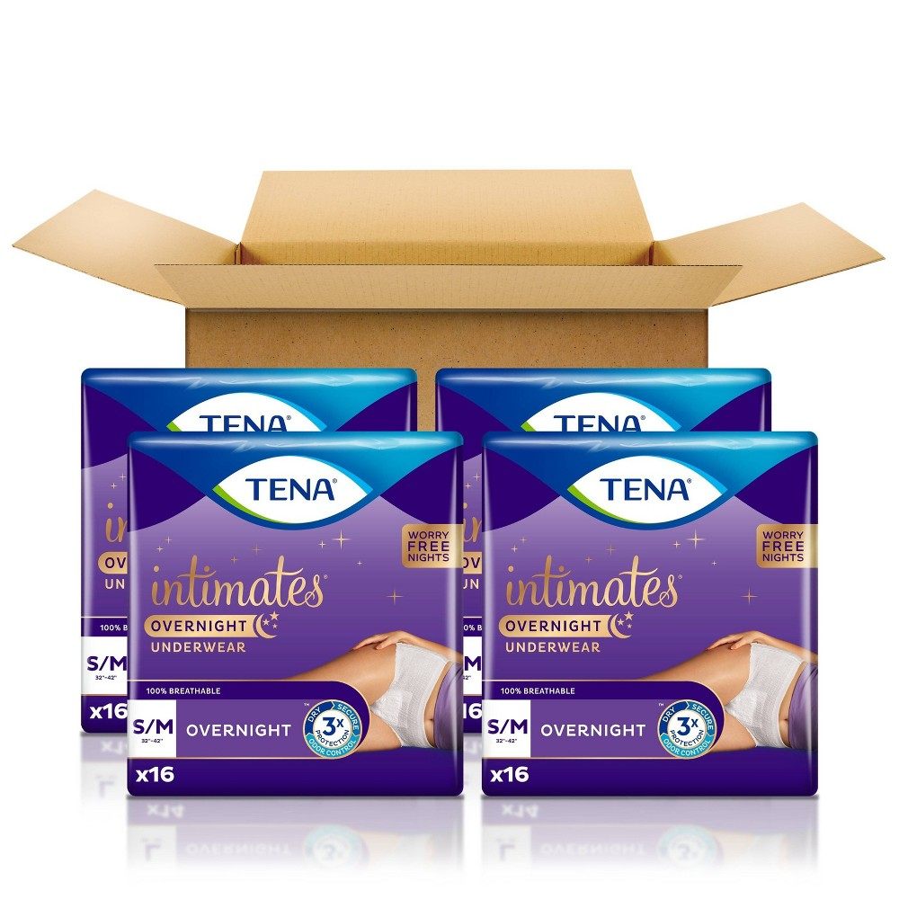 Tena Intimates Incontinence Underwear For Women Overnight Lie Down Protection S M 64ct