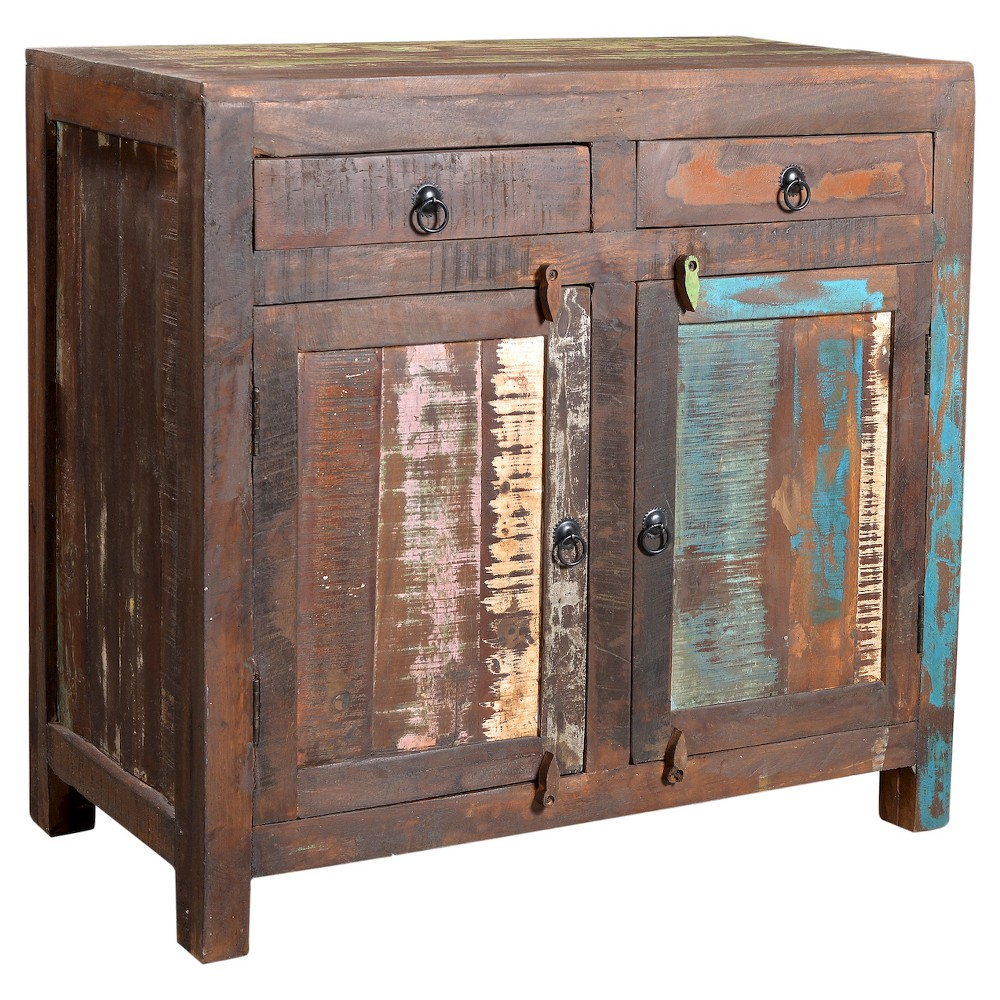 Reclaimed Wood 2-door Sideboard Cabinet - (33H x 35W x 18D )- Natural - Timbergirl