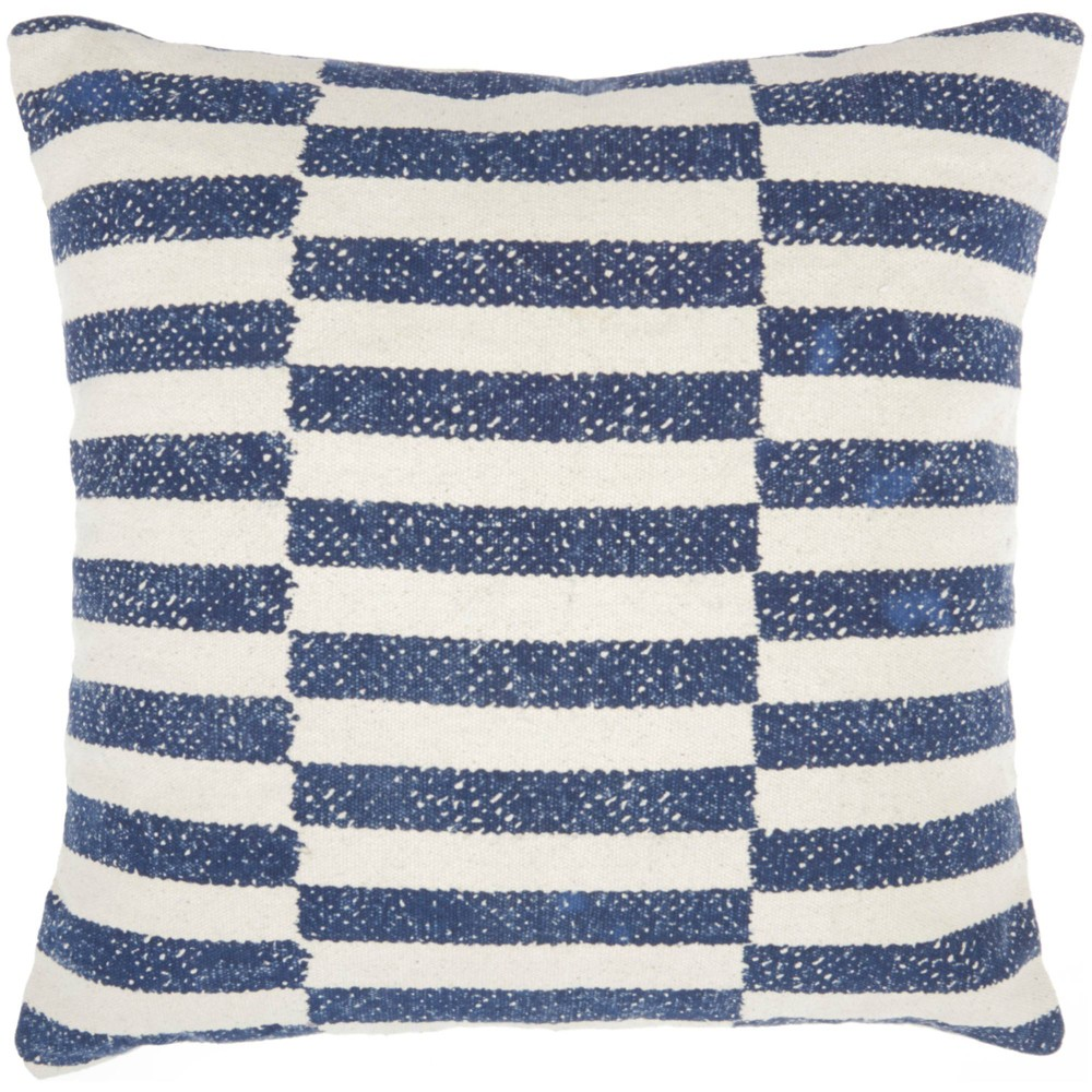 Image of Life Styles Printed Stripes Oversize Square Throw Pillow Navy - Nourison, Blue