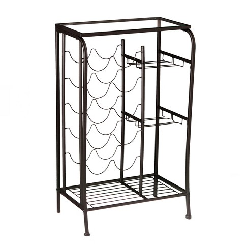 Anderon Accent Table With Wine torage Rack - Matte Black - Aiden Lane - image 1 of 4