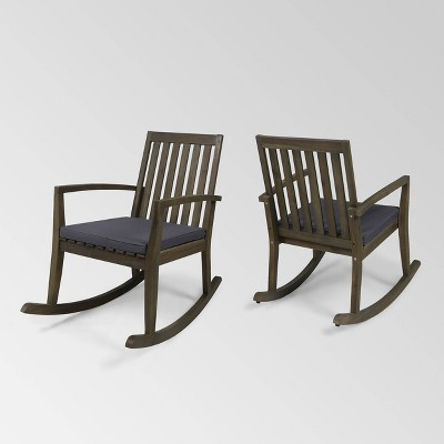 Montrose 2Pk Acacia Wood Patio Rocking Chair - Christopher Knight Home