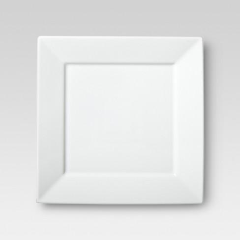 """10.3"""" Porcelain Square Rim Dinner Plate White - Threshold™ - image 1 of 2"""