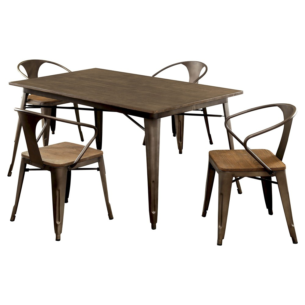 Sun & Pine 5pc Metal Frame Dining Table Set Metal/Natural Elm