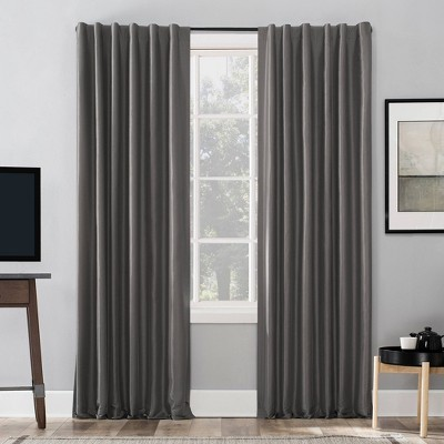 "84""x50"" Evelina Faux Dupioni Silk Thermal Extreme 100% Blackout Back Tab Curtain Panel Gray - Sun Zero"