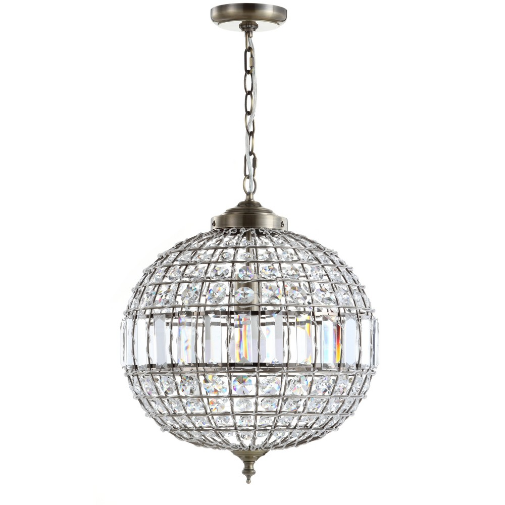 "Image of ""16"""" Georgina Crystal/Metal LED Chandelier Pendant Antique Brass - JONATHAN Y"""