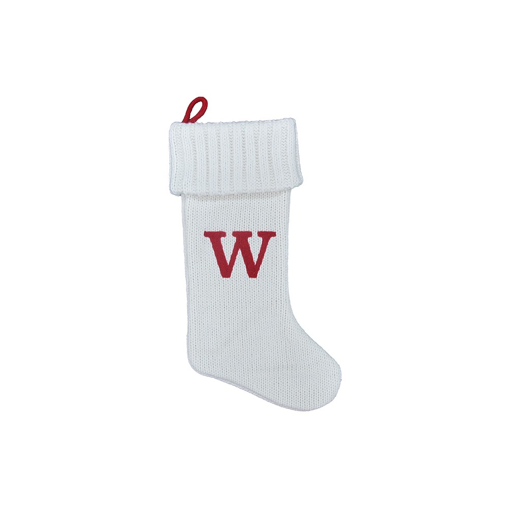 Knit Monogram Christmas Stocking White W - Wondershop