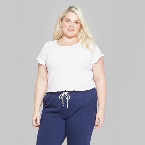 1a8817a4d23 Women s Plus Size Short Sleeve Scoop Neck Lettuce Edge Waffle Little  T-Shirt - Wild Fable™   Target
