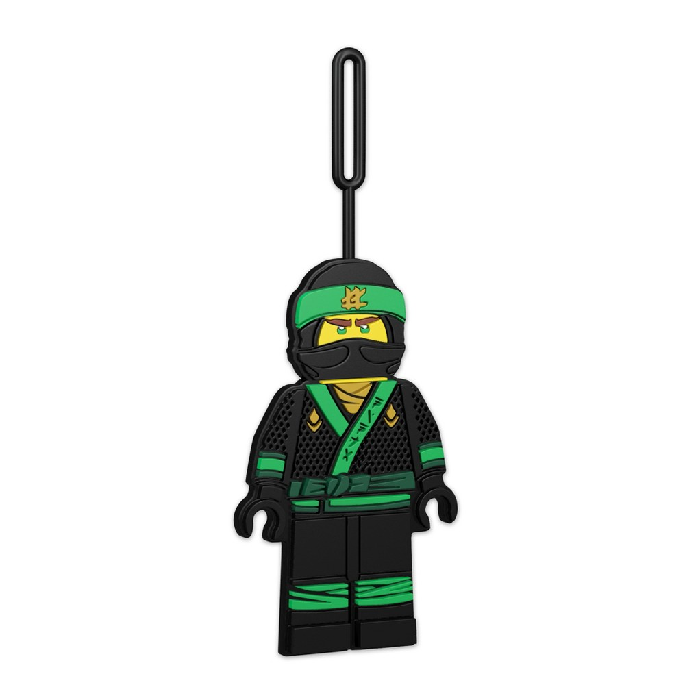 Lego The Ninjago Movie Lloyd Luggage Tag, Green Take a ninja with you everywhere you go with the Lego Ninjago Lloyd minifigure shaped silicone luggage/ID tag from The Lego Ninjago Movie. Easy to use loop, attaches to luggage and backpacks. Space on back for writing contact information. Minifigure height approximately 5 inches. Silicone luggage tag. Color: Green. Gender: Unisex. Age Group: Adult. Pattern: Solid.