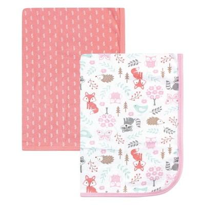 Hudson Baby Infant Girl Cotton Swaddle Blankets, Woodland Fox, One Size