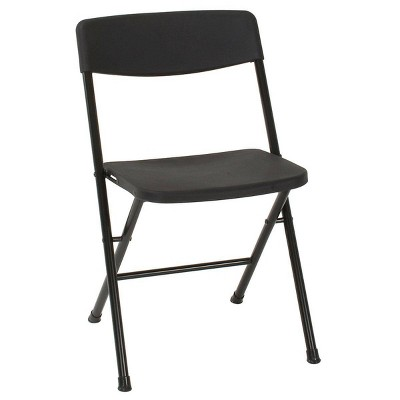 4pk Resin Folding Chair with Molded Seat Black - Room & Joy