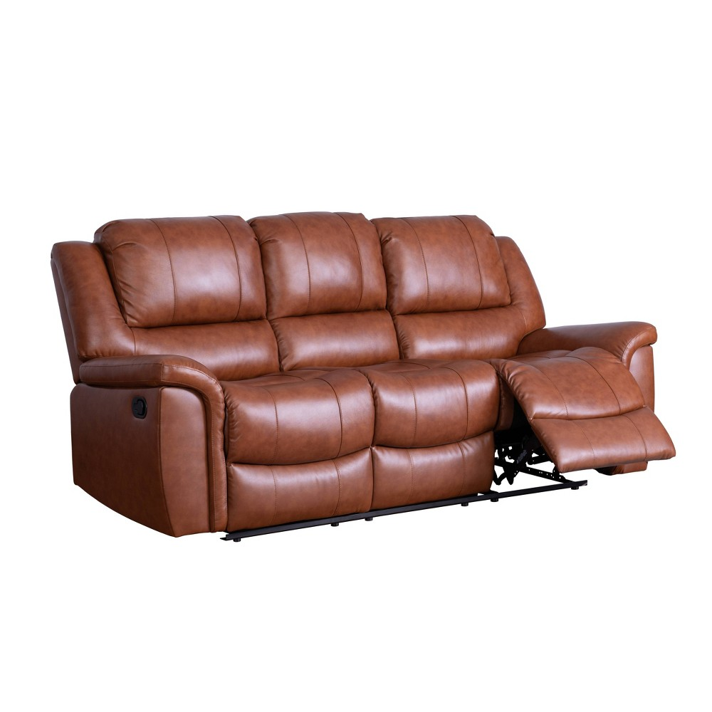 Image of 2pc Joel Top Grain Leather Reclining Sofa & Loveseat Set Camel - Abbyson Living