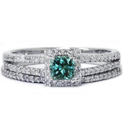 Pompeii3 3/4ct Blue Diamond Princess Cut Halo Diamond Engagement Ring Set 14K White Gold
