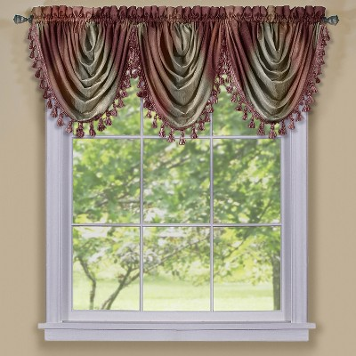 GoodGram Royal Ombre Curshed Semi Sheer 3 Pack Tassled Window Curtain Valances