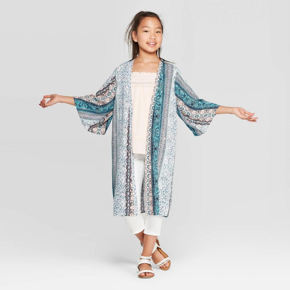 Low Price Girls Kimono With Tassles Art Class White M 7 8 Blue