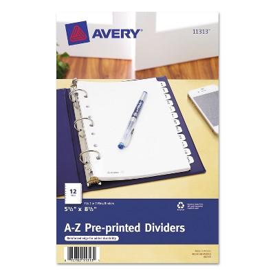 Avery Preprinted Tab Dividers 12-Tab 8 1/2 x 5 1/2 11313