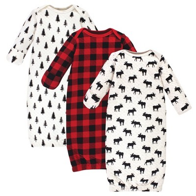 Hudson Baby Infant Boy Quilted Cotton Long-Sleeve Gowns 3pk, Moose, 0-6 Months