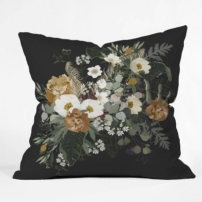 Iveta Abolina Paloma Night Square Throw Pillow Black - Deny Designs