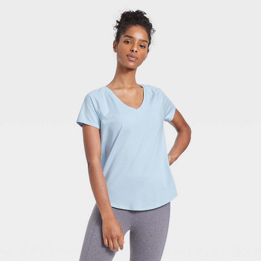 Women 39 S Essential V Neck Short Sleeve T Shirt All In Motion 8482 Air Blue L