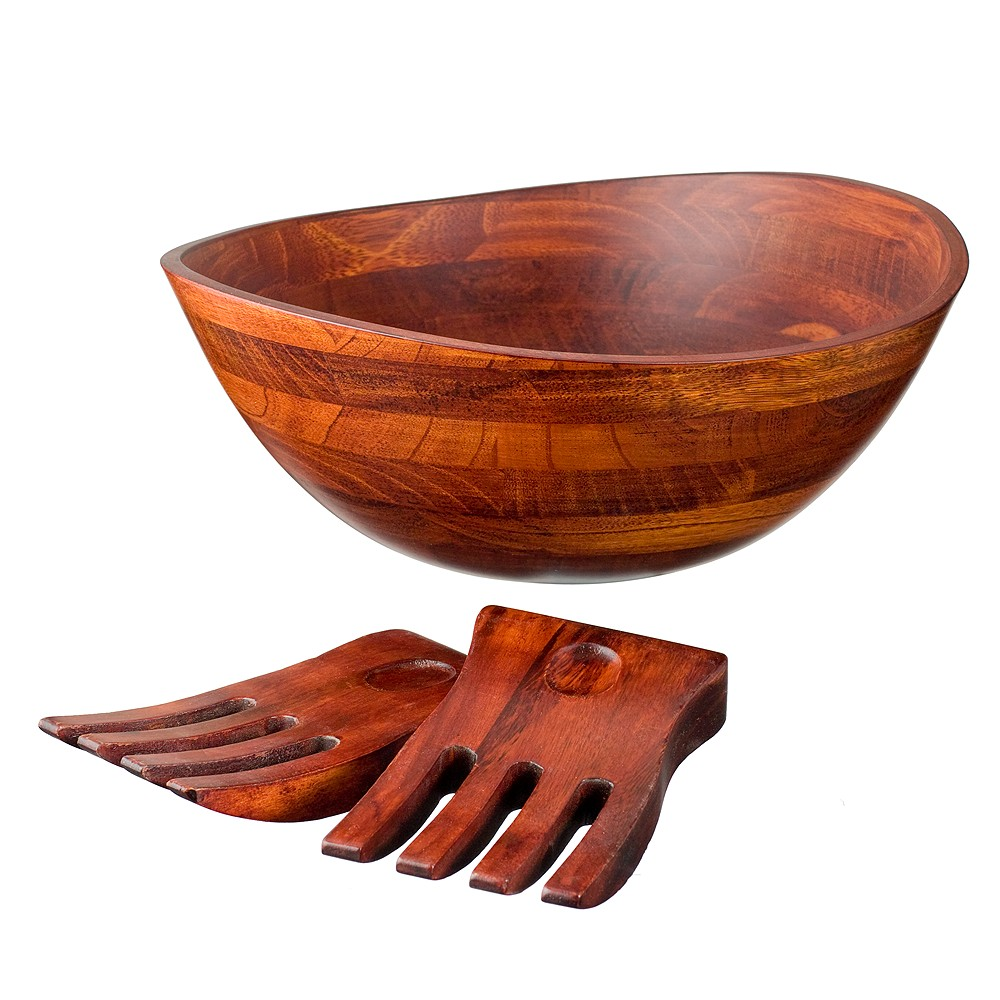 Wavy Rim 13 Salad Bowl with Salad Hands - Cherry