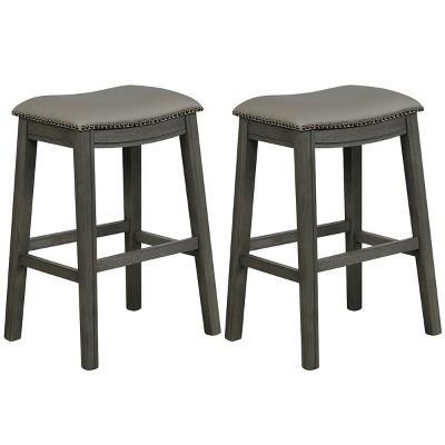 Costway Set of 2 Saddle Bar Stool 29'' Nailhead Kitchen Counter Chair Leather Seat Black/Grey