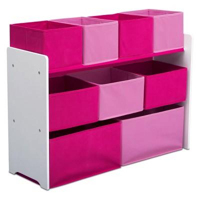 Delta Children Deluxe Multi-Bin Toy Organizer with Storage Bins - White/Pink Bins