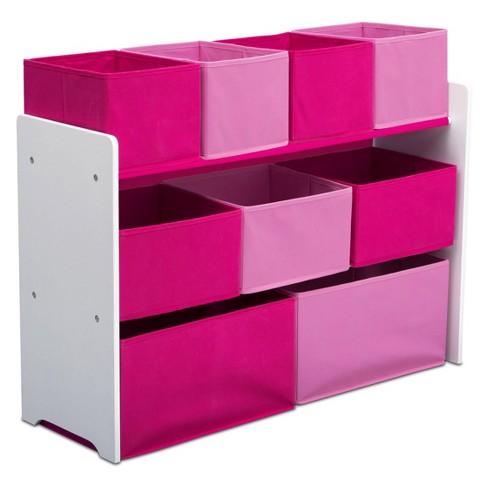 Outstanding Delta Children Deluxe Multi Bin Toy Organizer With Storage Bins White Pink Bins Home Interior And Landscaping Ologienasavecom
