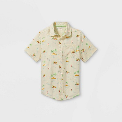 Boys' Challis Short Sleeve Button-Down Shirt - Cat & Jack™ Cream