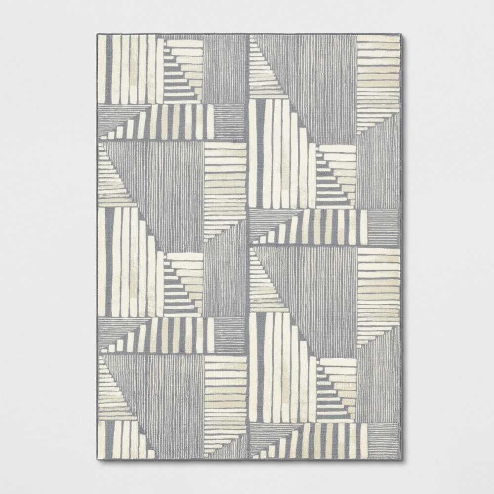 9'X12' Tufted Geometric Area Rug Gray - Project 62