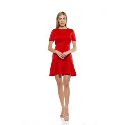 Alexia Admor Monica Crewneck Midi Flounce Dress