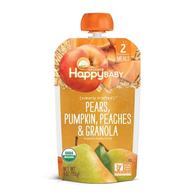 HappyBaby Clearly Crafted Pears Pumpkin Peaches & Granola Baby Food Pouch - 4oz
