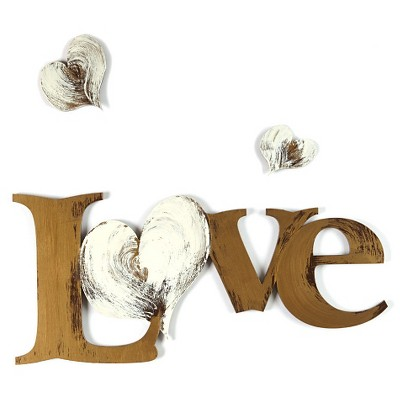 "8""x18"" Hand Painted 3D Wall Sculpture Love And Hearts Gold- Letter2Word"