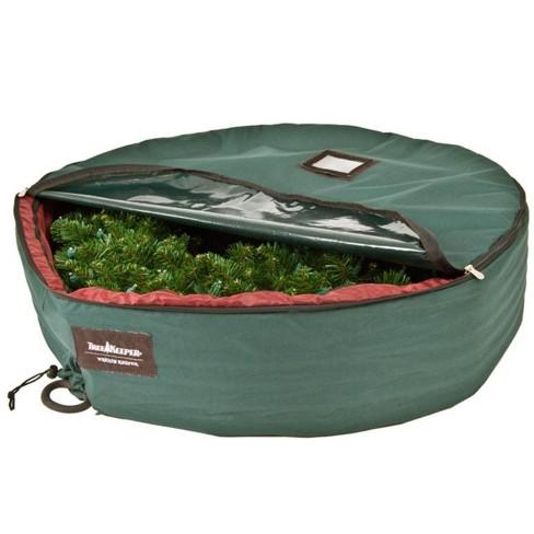 Tree Keeper 72 Large Christmas Wreath Protective Storage Bag With Bonus Ornament Storage