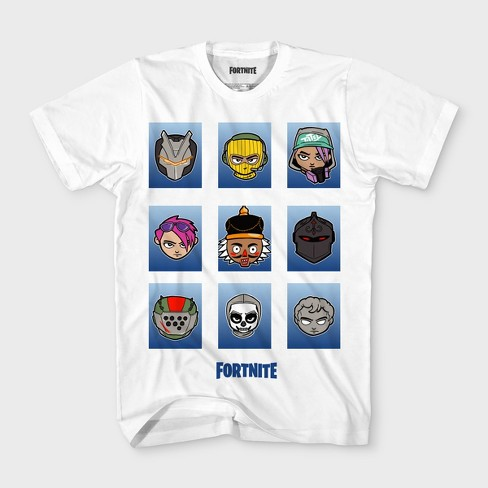 Boys' Fortnite Head Grid Boxes Short Sleeve T-Shirt - White - image 1 of 1