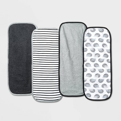 Baby 4pk Burp Cloth Set - Cloud Island™ Black/White One Size