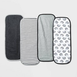Baby 4pk Burp Cloth Set - Cloud Island™ Black/White One Size