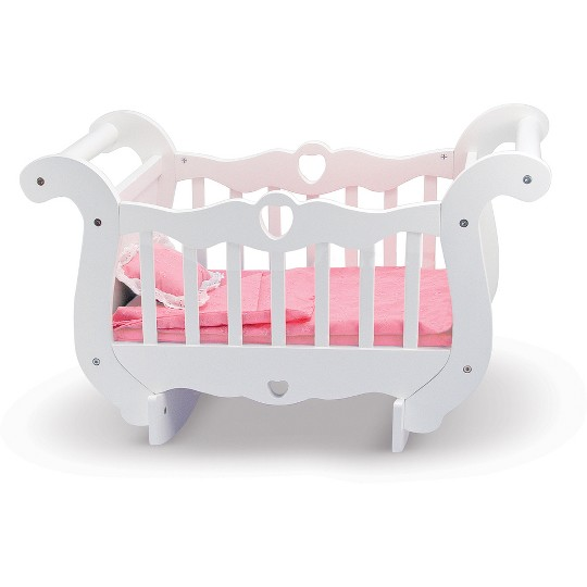 Melissa & Doug White Wooden Doll Crib With Bedding (30 x 18 x 16 inches) image number null