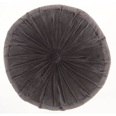 "16"" Ruched Velvet Round Throw Pillow Charcoal - Mina Victory"