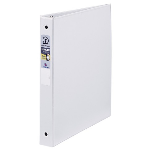 "Avery® 1"" 3 Ring Binder with One Touch Slant 3 Rings and Internal Pockets White - image 1 of 1"